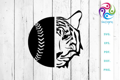 Baseball Ball with Tiger Face SVG Cut File