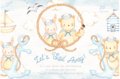 Let's Sail Away Watercolor Clip Arts