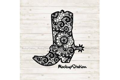 Cowboy Boot Lace Mandala SVG, Southern Western PNG