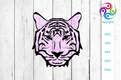 Pink Zentangle Tiger Face SVG Cut File