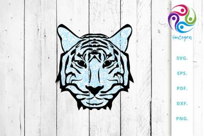 Blue Zentangle Tiger Face SVG Cut File