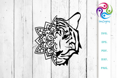 Tiger Face out of Mandala SVG Cut File