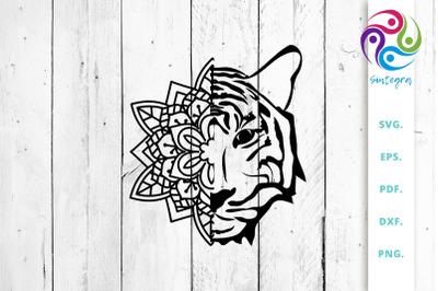 Tiger Face out of Mandala SVG Cut File
