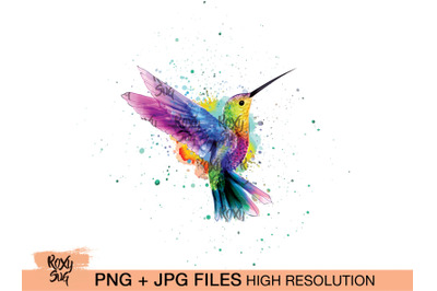 Watercolor hummingbird, sublimation designs downloads, hummingbird art