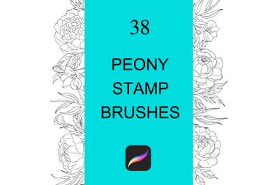 Peony flowers Procreate stamp brushes