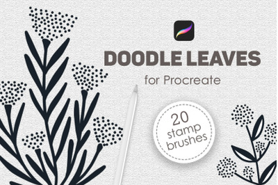 Doodle leaves procreate brushes, foliage stamps