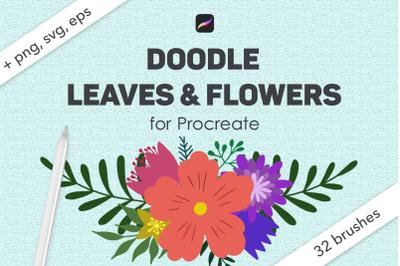 Doodle leaves procreate botanical brushes, foliage stamps