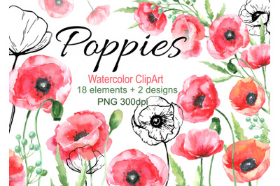 Watercolor poppies clipart red flowers clip art png wedding