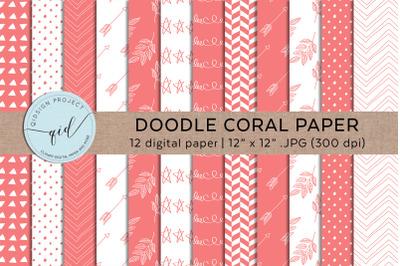 Coral Hand Drawn Digital Paper Pattern