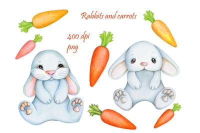 Rabbits and carrots. Watercolor.