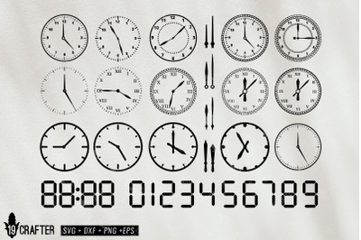 round clock and clock digital number svg bundle
