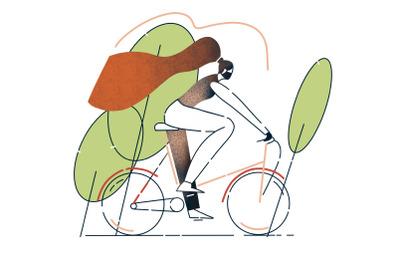 Masked girl on a bike