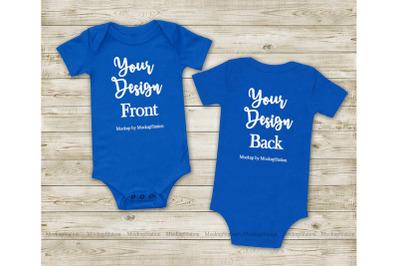 Baby Bodysuit Front & Back True Royal BlueMockup