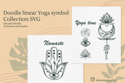 Doodle linear Yoga symbol Collection of SVG Cut Files