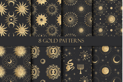 Gold patterns. Sum and moon