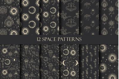 Patterns. Space - sun - moon - star