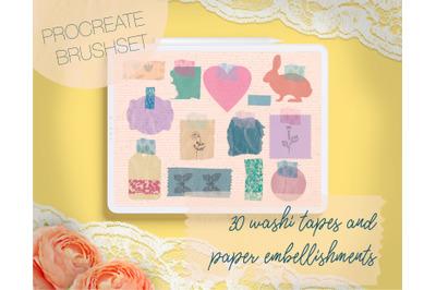 Washi Tapes and Paper Embellishments Procreate Brushes