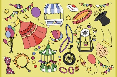 Doodle vektor circus