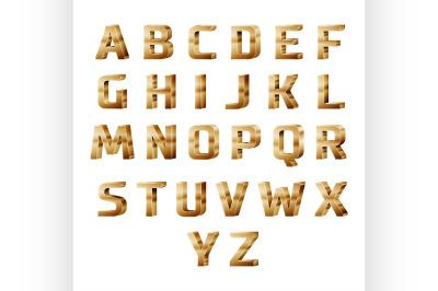 golden 3D alphabet