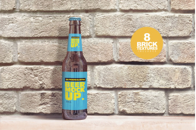 Brick Backgrounds Beer Mockup