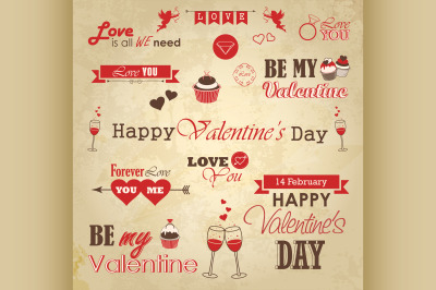 Valentines day set - labels, emblems and decorative elements