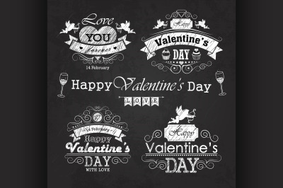 Valentines day set - labels, emblems and decorative elements on blackb