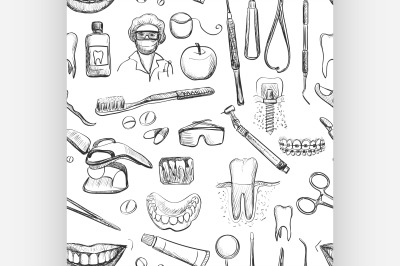 Dental seamless pattern.