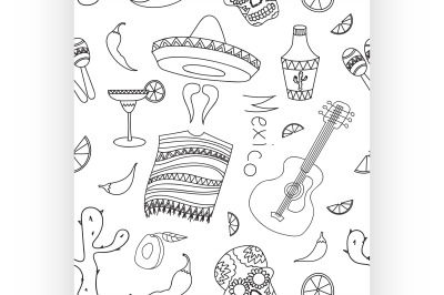 Doodle pattern mexico