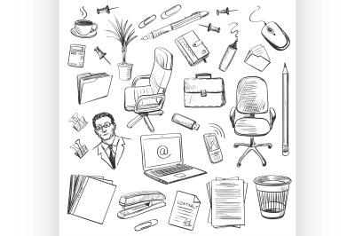 Office equipment isometric. Set of vector icon