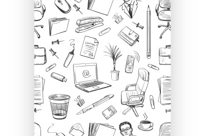 Pattern of creative hand drawn office workspace