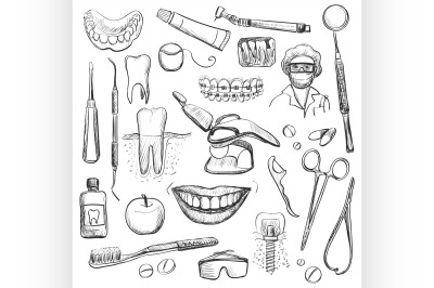 Set of Dentist with different dental equipment