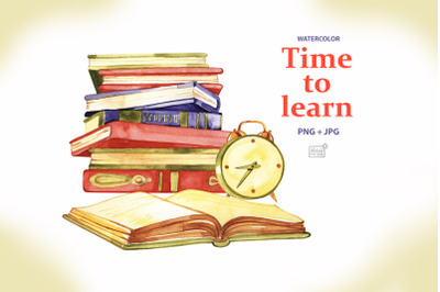Time to learn. Watercolor clipart