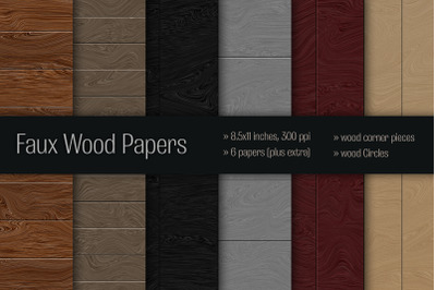 Illustrated Wood Digital Paper Set with Embellishments