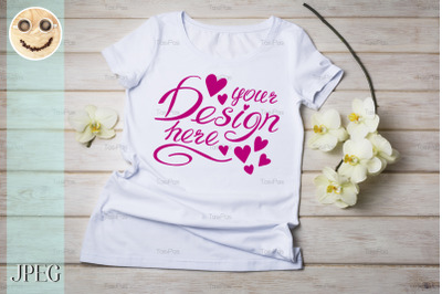 Womens T-shirt mockup with yellow orchid.