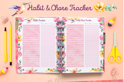 PLANNER printables - hummingbird set - 17 pdf files