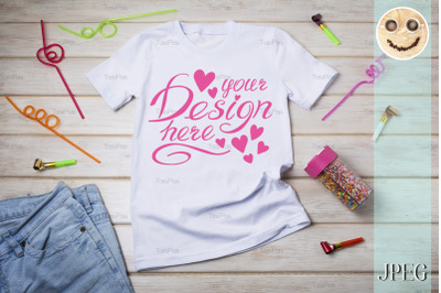 Kids T-shirt mockup with birthday party decor.