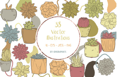 38 Hand Drawn Vector Succulents, Cacti and Doodles Digital Clipart