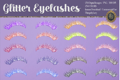 254 Glitter Eyelashes Set Clip arts Wedding Valentine Date