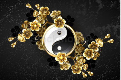 Yin Yang Symbol with Golden Sakura