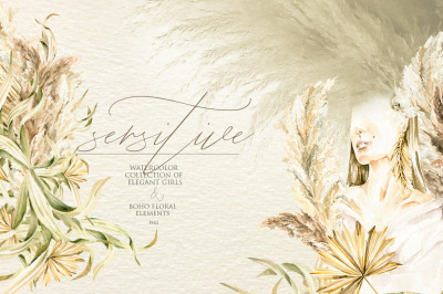 Sensitive girls. Watercolor collection