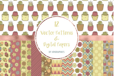 12 Vector Succulents, Cacti and Doodles Patterns & Digital Papers
