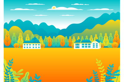 Rural or urban landscape outdoor. City or village in flat style design