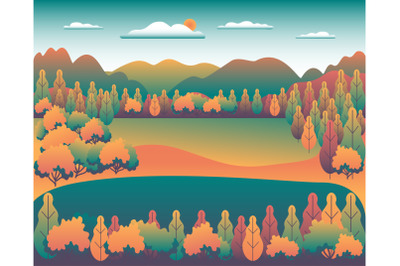 Hills and mountains landscape in flat style design. Beautiful bright
