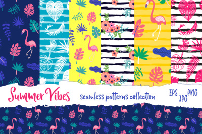 Summer vibes vector patterns collection
