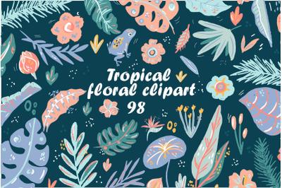 Cute Tropical elements clipart set,