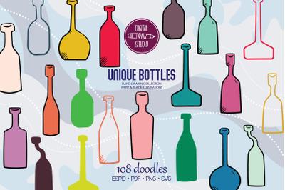 Colored Bottles | Hand Drawn Potion vials | Vintage Wine Bottles
