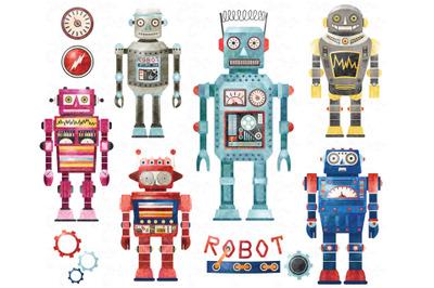 Watercolor Retro Robots Collection