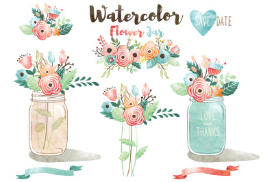 Watercolor Flower Jar Collections