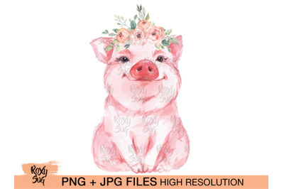 Flower Bandana Pig PNG, Pig Flower crown, Sublimation Designs Download