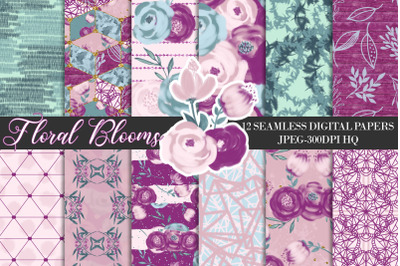 Purple Flowers Digital Papers, Watercolor Floral Scrapbook Papers
